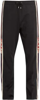 Gucci Button-fastening Web-trimmed jersey track pants