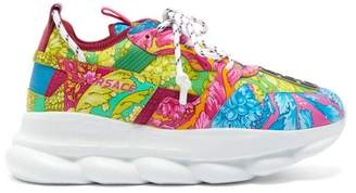 Versace Chain Reaction Baroque Print Leather Trainers - Mens - Pink Multi