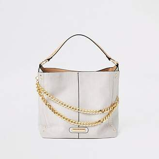 River Island Grey double chain slouch bag