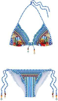 Camilla ラッフルトリム 装飾付き プリント トライアングルビキニ