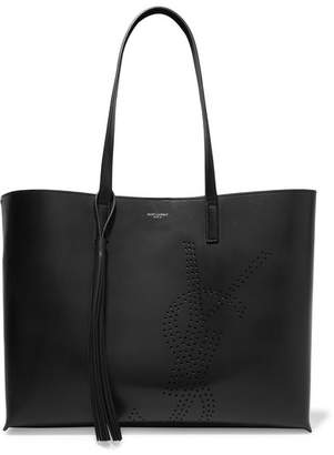 Saint Laurent Shopper Perforated Leather Tote - Black