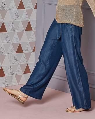 Fashion World Relaxed Wide Leg Lyocell Trousers Reg