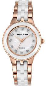 Anne KleinAnne Klein Women's Rosetone White Ceramic Watch