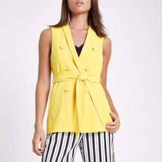 River Island Womens Yellow sleeveless double breasted jacket