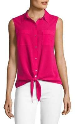Jones New York Sleeveless Tie Front Blouse