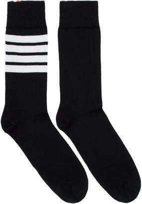 Thom Browne Black 4-Bar Mid-Calf Socks
