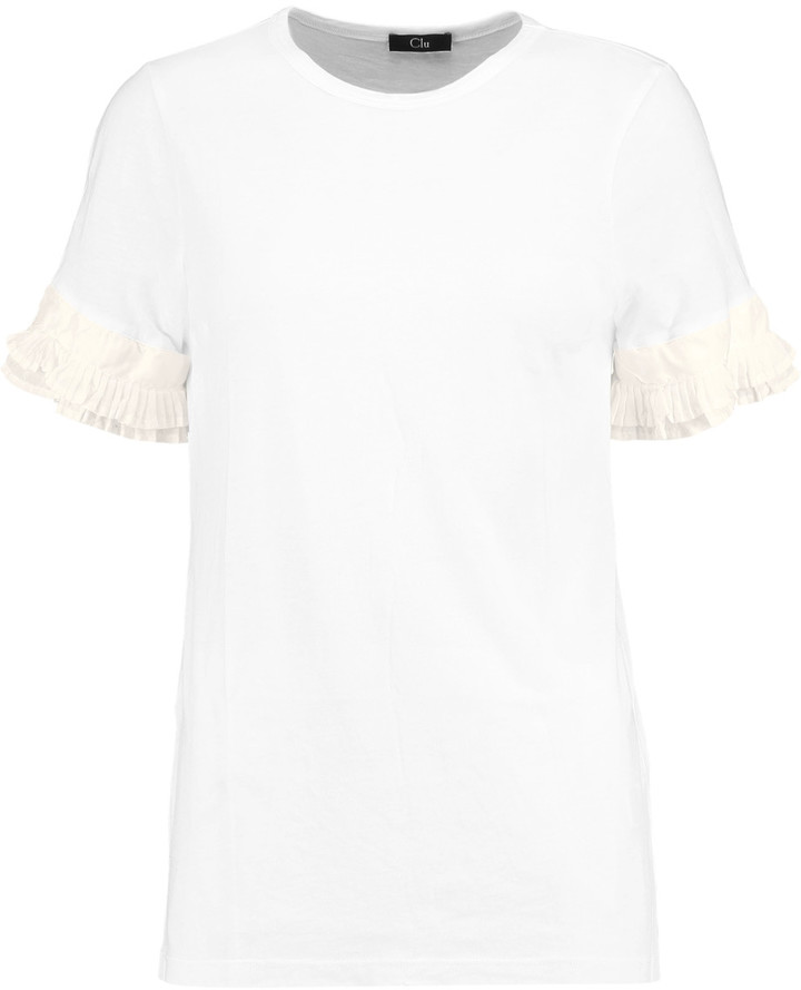 Clu CLU Ruffled silk-paneled cotton and modal-blend jersey T-shirt