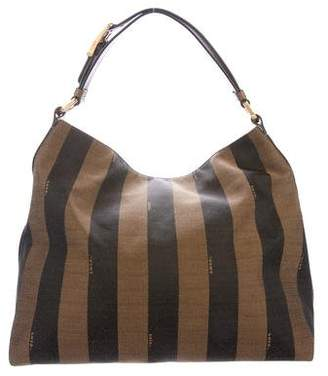 Fendi Pequin Striped Canvas Hobo