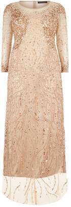 Marina Rinaldi Embellished Sheer Sleeve Gown