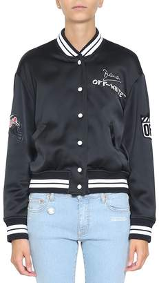 Off-White Satin Varsity Jacket