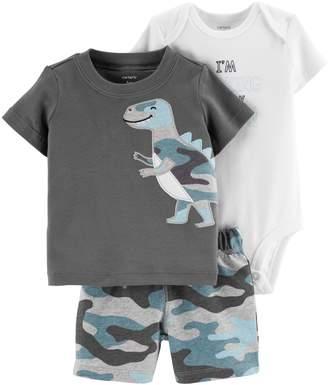 Carter's Baby Boy Graphic Bodysuit, Dinosaur Tee & Camouflage Shorts Set