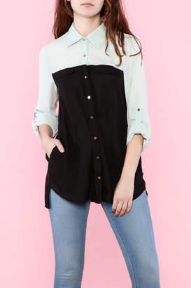 SS Sheer Button-Down Shirt