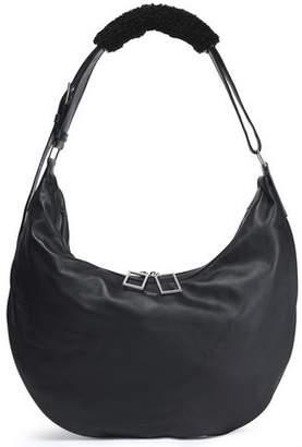 Acne Studios Shearling-Trimmed Leather Shoulder Bag