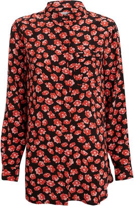 Ganni Printed Fiery Red Crepe Button Down Blouse