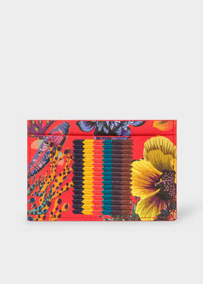 Paul Smith Men's Red 'Ocean' Print Card Holder With 'Bright Stripe' Webbing