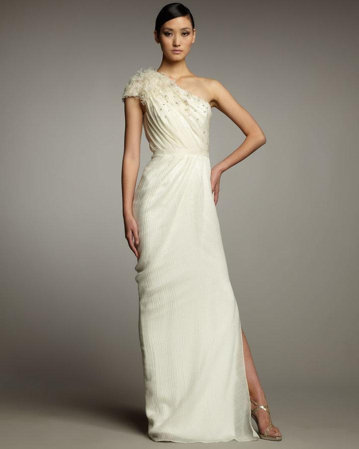 Pamella Roland One-Shoulder Textured Organza Gown