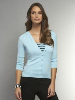 New York & Co. Pleated Shoulder Three-Quarter Sleeve Cardigan