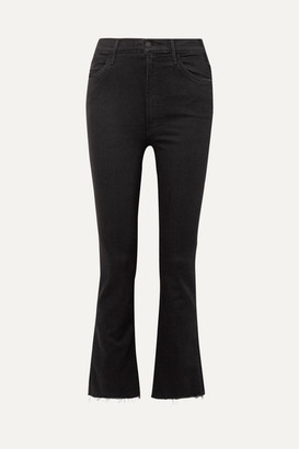Mother The Hustler Cropped Frayed High-rise Flared Jeans - Black