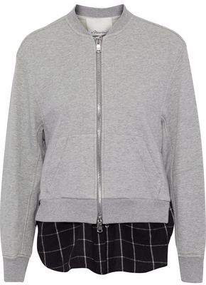 3.1 Phillip Lim Layered Cotton-Jersey And Checked Flannel Sweatshirt
