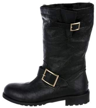Jimmy Choo Fur-Lined Leather Boots Black Fur-Lined Leather Boots