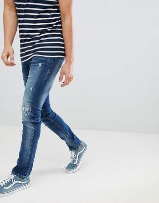Blend of America cirrus distressed skinny jeans in mid wash blue