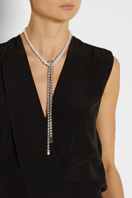 Maison Martin Margiela Convertible faux pearl and crystal necklace