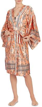 Midnight Bakery Paisley Satin Wrap Robe