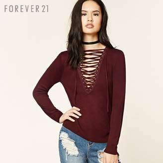 Forever 21 (フォーエバー 21) - Forever 21 フロントレースアップニット