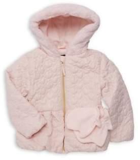 Rothschild Girl's 2-Piece Faux Fur Heart Quilted Jacket & Fleece Mittens Set