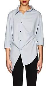 Ji Oh Women's Asymmetric Cotton Poplin Blouse - Lt. Blue