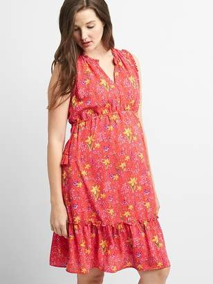 Gap Maternity Sleeveless Ruffle-Trim Dress in Floral Print