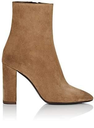 Saint Laurent Women's Lou Suede Ankle Boots - Beige, Tan