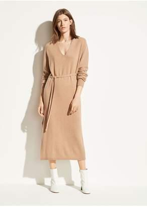 Vince Wool Cashmere V-Neck Dress