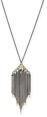 Armenta Old World Chain Tassel Necklace with Champagne Diamonds
