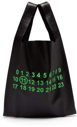 Logo Print Leather Tote Bag - Mens - Black