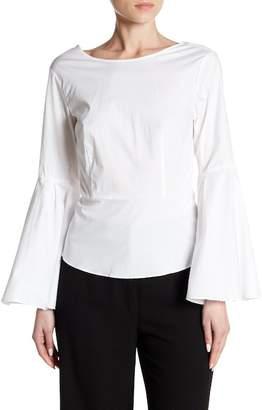 Nanette Lepore NANETTE Long Bell Sleeve Open Tie Back Blouse