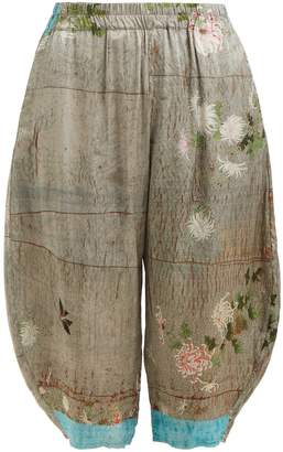 BY WALID Kavita chrysanthemum-print silk cropped trousers