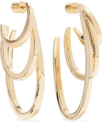 Jennifer Fisher Square Adwoa Gold Plated Hoop Earrings One Size