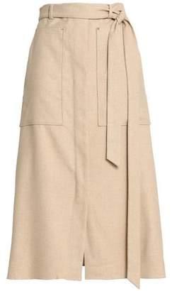 Tibi Wilson Belted Twill Midi Skirt