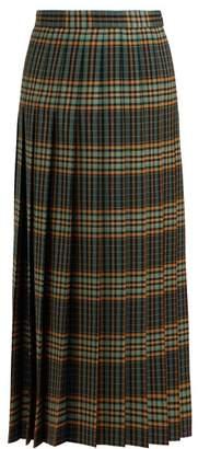 Gucci Tartan Pleated Wool Midi Skirt - Womens - Green Multi