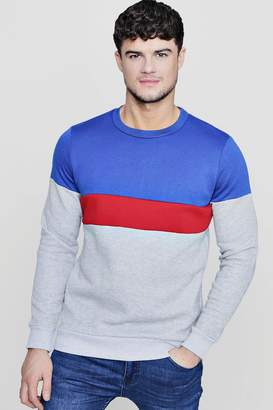 boohoo Colour Block Panelled Crew Neck Sweater
