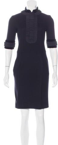 Saint LaurentYves Saint Laurent Pleat-Trimmed Sheath Dress