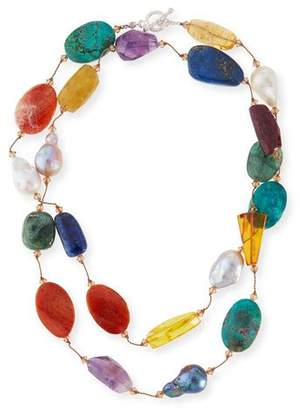 Margo Morrison Multi-Stone & Pearl Hand-Knotted Necklace, 35""