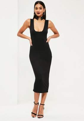 Missguided Jersey Square Bust Midi Dress Black