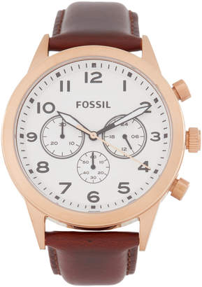 Fossil BQ2374 Rose Gold-Tone & Brown Watch