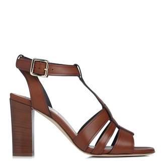 Tan Leather Selena T-Bar Sandals