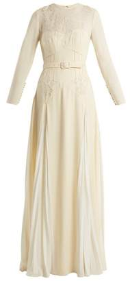 Self-portrait - Pleated Skirt Belted Crepe Dress - Womens - Ivory