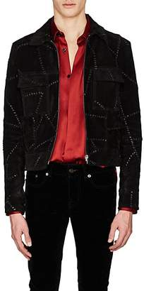 Saint Laurent Men's Whipstitched Suede Shirt Jacket - Black