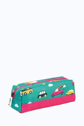 Frugi Girls Pencil Case In Car Print - Green