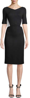 St. John V-Neck Half-Sleeve Pique Milano Knit Sheath Dress